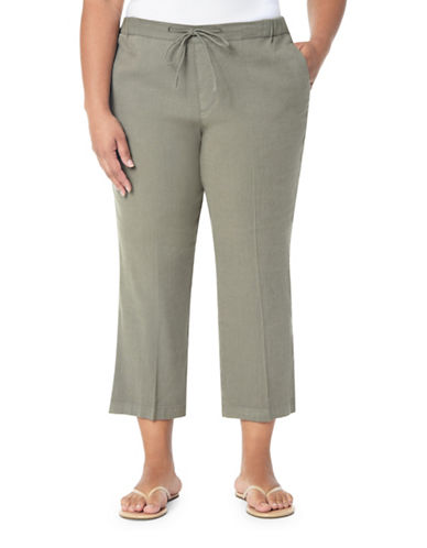 Nydj Plus Plus Jamie Drawstring Cropped Pants-GREEN-14W