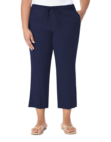 Nydj Plus Plus Jamie Drawstring Cropped Pants-BLUE-14W