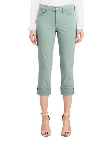 Nydj Petite Wide Cuff Ankle Capri Jeans-GREEN-Petite 10