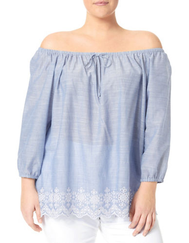Nydj Plus Off-the-Shoulder Embroidered Top-BLUE-3X