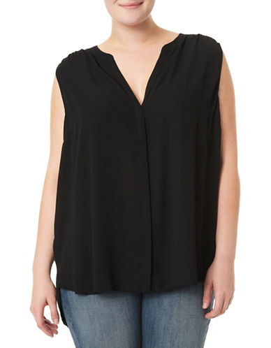 Nydj Plus Plus Pintucked Shell Top-BLACK-0X