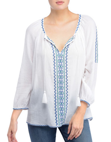 Nydj Hani Embroidered Tassel Top-WHITE-X-Large