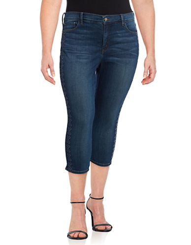 Nydj Plus Plus Alina Embroidered Capri Jeans-BLUE-22W
