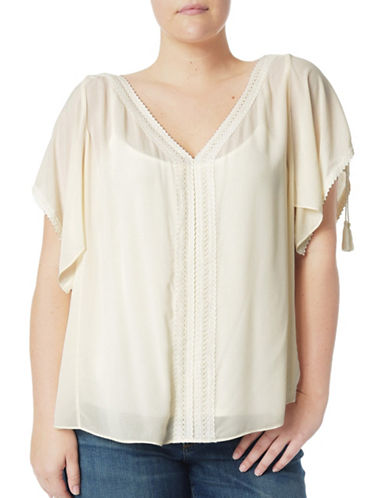 Nydj Plus Plus Flutter Sleeve Top-WHITE-0X