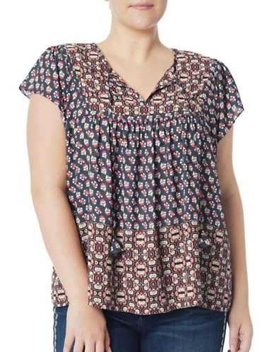 Nydj Plus Plus Faraji Floral-Print Blouse-BROWN-1X