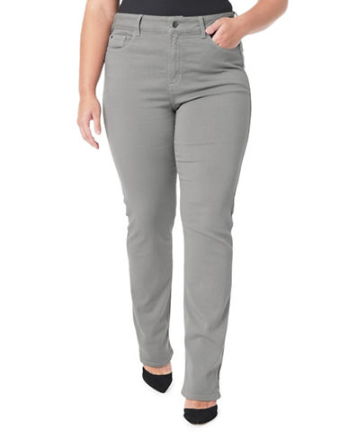 Nydj Plus Plus Marilyn Straight Jeans-GREY-22W