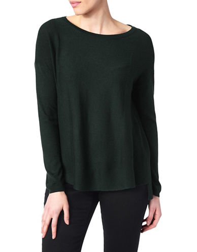 Nydj Split Back Wool-Blend Top-GREEN-X-Large
