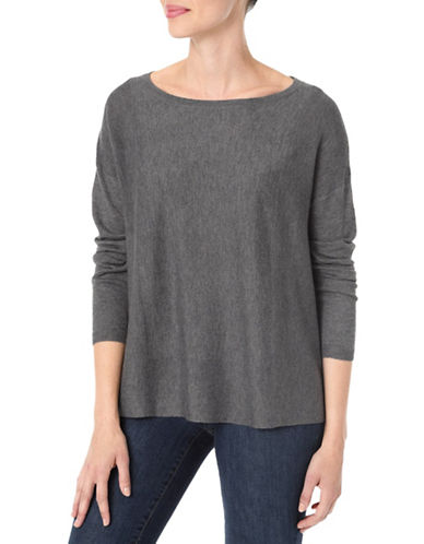 Nydj Split Back Wool-Blend Top-GREY-Medium