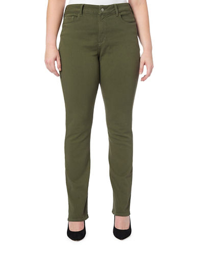 Nydj Plus Plus Marilyn Straight Jeans-FATIGUE-14W