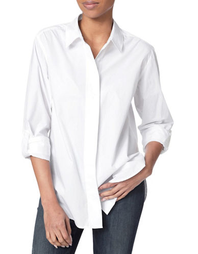 Nydj Cotton Button-Down Shirt-OPTIC WHITE-Small