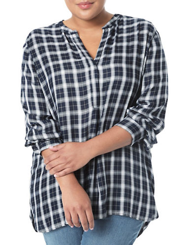 Nydj Plus Plus Twill Plaid Tunic-BLUE MULTI-3X