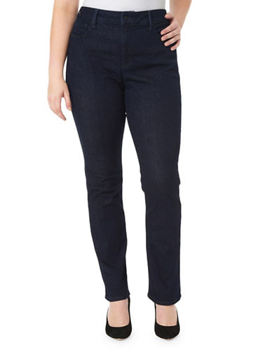 Nydj Plus Marilyn Straight-Rinse Jeans-BLUE-20W