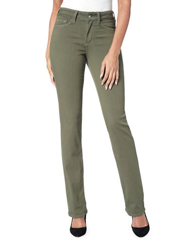 Nydj Petite Marilyn In Luxury Touch Straight-Leg Pants-GREEN-Petite 2