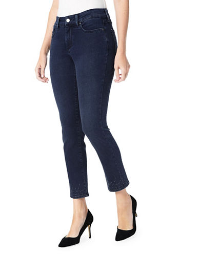 Nydj Cropped Ankle-Embellished Jeans-BLUE-6