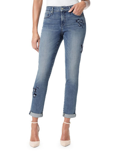 Nydj Floral Embroidered Boyfriend Jeans-BLUE-6