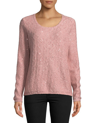 Nydj Sequined Scoop Neck Sweater-PINK-Large