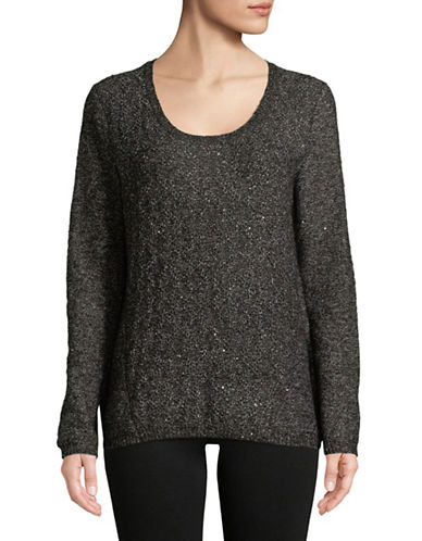 Nydj Sequined Scoop Neck Sweater-BLACK-X-Large
