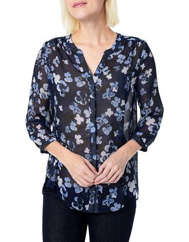Nydj Floral Crinkle Blouse-BLUE-Medium