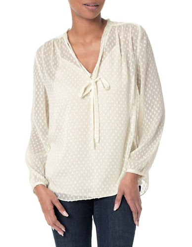 Nydj Crinkle Clip Tie Blouse-NATURAL-Small