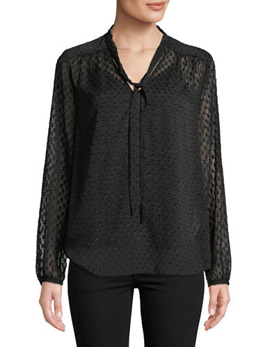Nydj Crinkle Clip Tie Blouse-BLACK-Medium