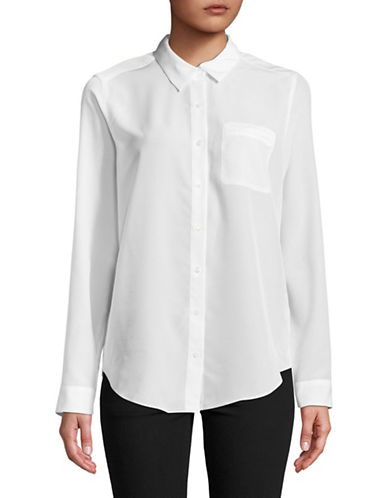 Nydj Long Sleeve Button-Down Shirt-WHITE-X-Small
