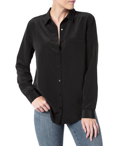 Nydj Long Sleeve Button-Down Shirt-BLACK-Small