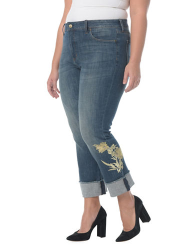 Nydj Plus Embroidered Straight Jeans-BLUE-22W