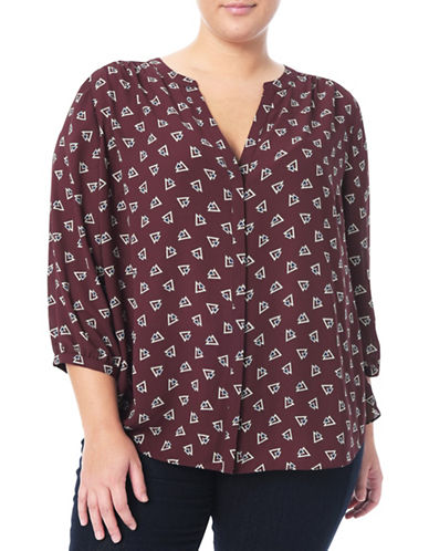 Nydj Plus Modern Batik Blouse-RED-0X
