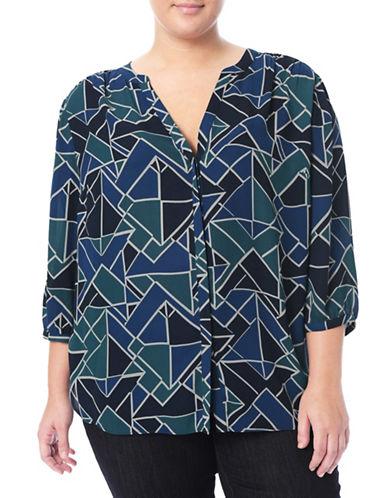 Nydj Plus Modern Batik Blouse-BLUE-2X