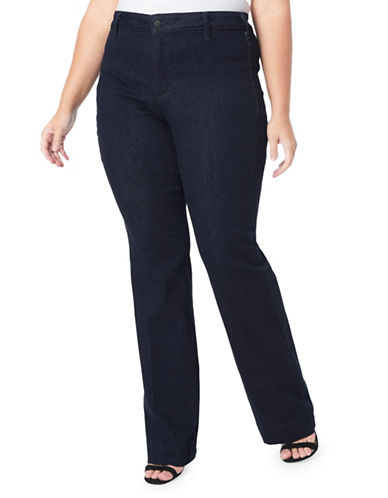 Nydj Plus Plus Teresa Straight-Leg Trousers-BLUE-18W