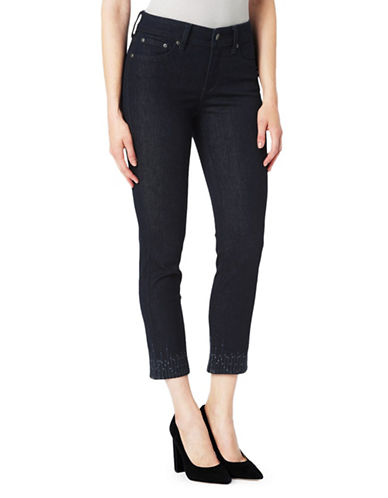 Nydj Cropped Ankle-Embellished Jeans-BLUE-14