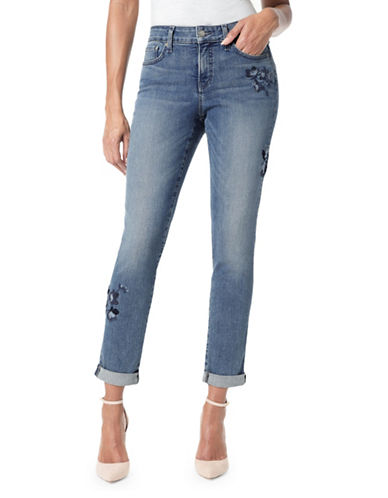 Nydj Embroidered Floral Boyfriend Jeans-BLUE-Petite 12