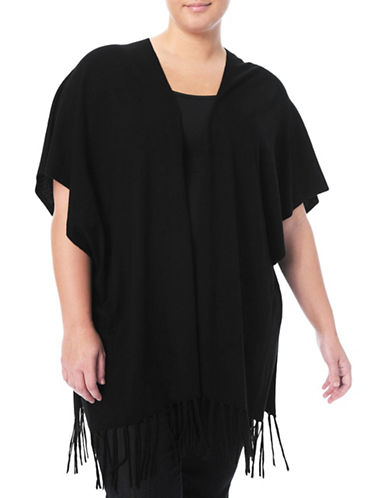 Nydj Plus Wool-Silk Fringe Wrap Sweater-BLACK-3X/4X