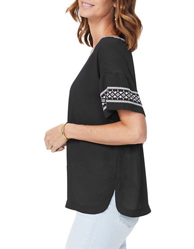 Nydj Short Sleeve Embroidered Top-BLACK-Medium 90052294_BLACK_Medium