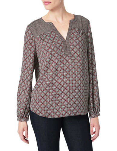 Nydj Medallion Peasant Top-RED-Large