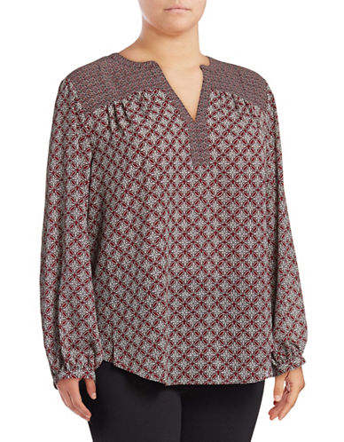 Nydj Plus Printed Peasant Top-RED-3X