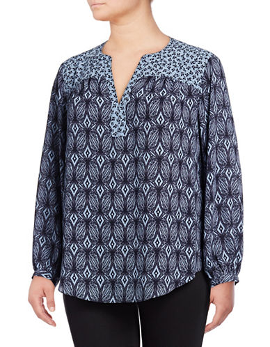 Nydj Plus Printed Peasant Top-NAVY-1X