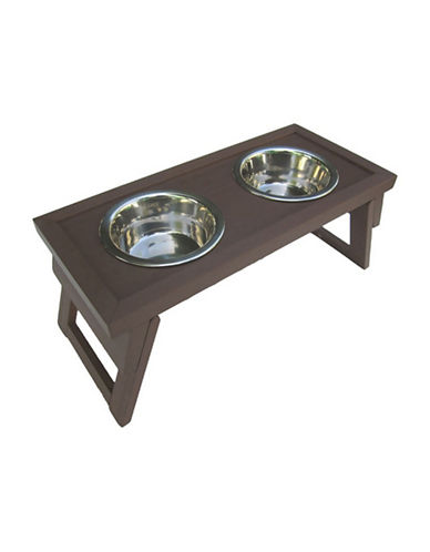 Ecoflex Hilo Raised Double Pet Diner Set-BROWN-One Size
