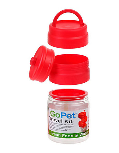 Ecoflex Pet Travel Kit for Food and Water-RED-One Size