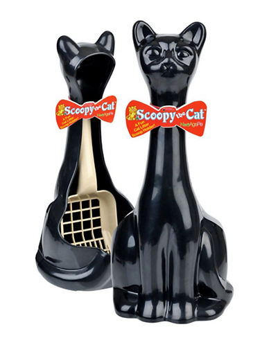 Ecoflex Scoopy Cat Litter Scoop and Holder-BLACK-One Size