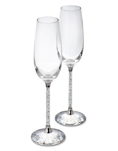 Swarovski Crystalline Toasting Flutes Set of 2-CLEAR-One Size