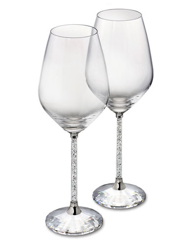 Swarovski Crystalline White Wine Glasses Set of 2-CLEAR-One Size