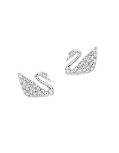 Swarovski Swan Pierced Crystal Earrings-SILVER-One Size