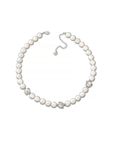 Swarovski Pearl Necklace with Wrapped Crystal Accents-PEARL-One Size
