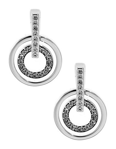 Swarovski Circle Crystal Pierced Earrings-SILVER-One Size