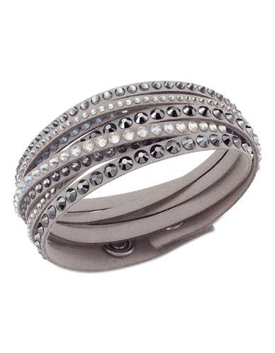 Swarovski Fabric Swarovski Crystal Wrap Bracelet-GREY-One Size