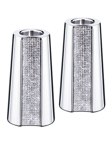 Swarovski Small Ambiray Candleholders (Set of 2)-STAINLESS STEEL-Small