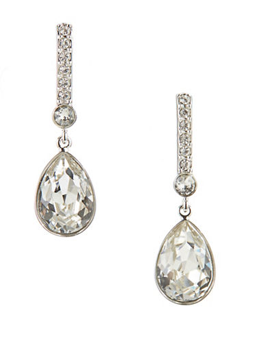Swarovski Teardrop Pave Bar Stud Earrings-SILVER-One Size