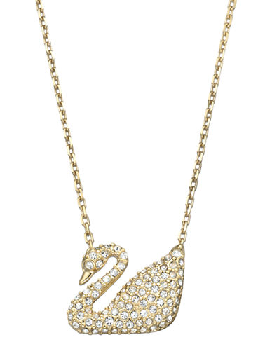 Swarovski Swan Necklace-GOLD-One Size