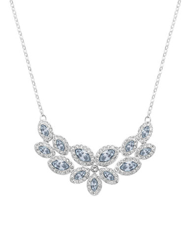 Swarovski Silver Tone Swarovski Crystal Collar Necklace-BLUE-One Size